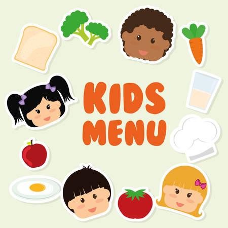 Kids menu design over beige background, vector illustration. Illustration