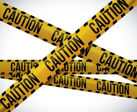 murder scene: Dise�o de la cinta amarilla sobre fondo blanco, ilustraci�n vectorial. Vectores
