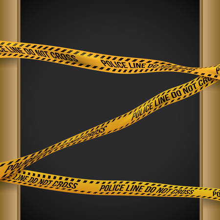 perimeter: Yellow tape design over black background, vector illustration.