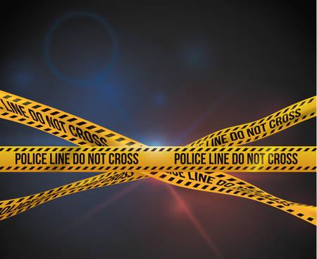 murder scene: Dise�o de la cinta amarilla sobre fondo negro, ilustraci�n vectorial.