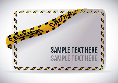 Yellow tape design over white background, vector illustration.