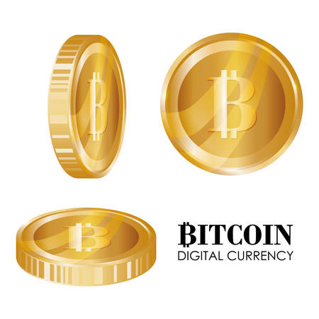 counting money: Bitcoin design over white background, vector illustration. Illustration