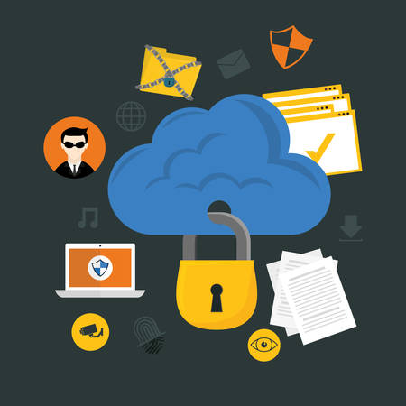private cloud: Security system design over gray background ,vector illustration.