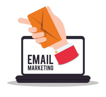 E-Mail-Marketing-Design auf weißem Hintergrund, Vektor-Illustration. Illustration