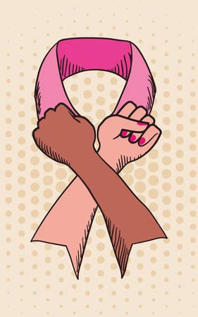 breast comic: Cancer design over beige background, vector illustration.