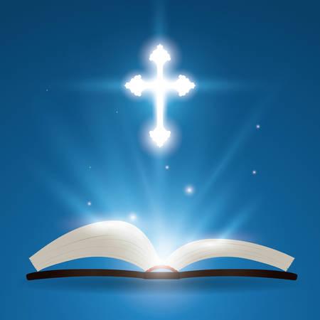 biblia: El dise�o de la Sagrada Biblia sobre fondo azul, ilustraci�n vectorial.