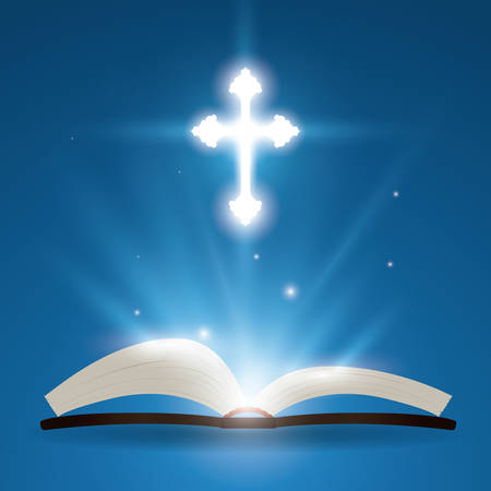 testament: Holy bible design over blue background, vector illustration.