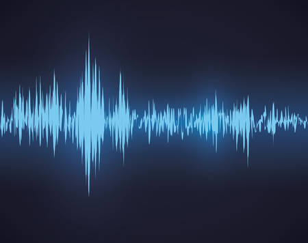 vibrations: Sound design over blue background, vector illustration. Illustration