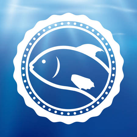 blue fish: Fish design over blue background, vector illustration. Illustration