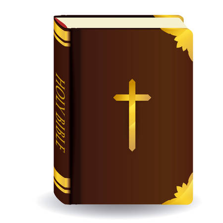 holy book: Holy bible design over white background, vector illustration.