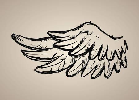 ali angelo: Disegno di angelo su sfondo beige, illustrazione vettoriale, Vettoriali