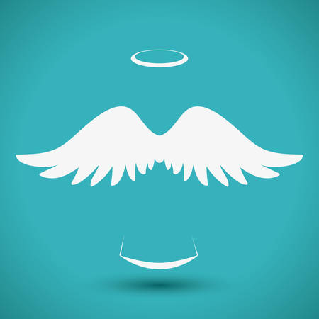 wings angel: Angel design over blue background, vector illustration,