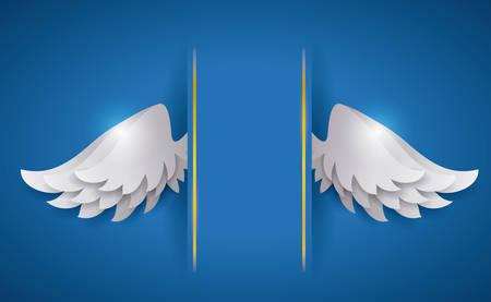 ali angelo: Disegno di angelo su sfondo blu, illustrazione vettoriale, Vettoriali