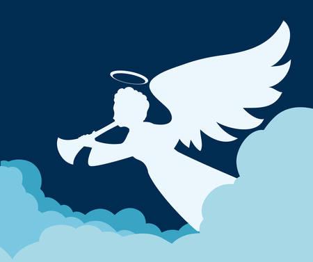 cloudscape: Angel design over cloudscape background, vector illustration,