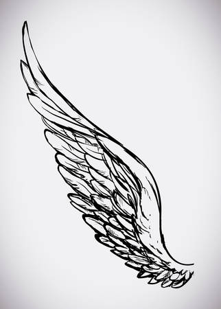 Angel design over white background, vector illustration, Çizim