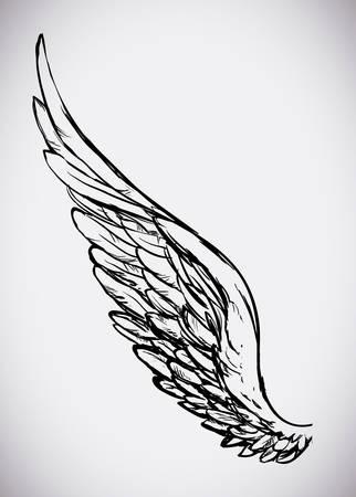 ali angelo: Disegno di angelo su sfondo bianco, illustrazione vettoriale,