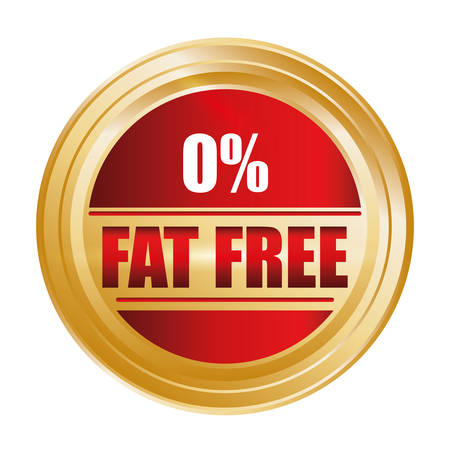 gordos: Bajo en grasa diseño de la etiqueta libre, ilustración vectorial.