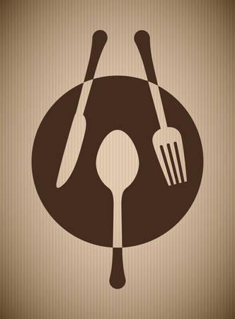 nutritive: Restaurant design over beige background, vector illustration.