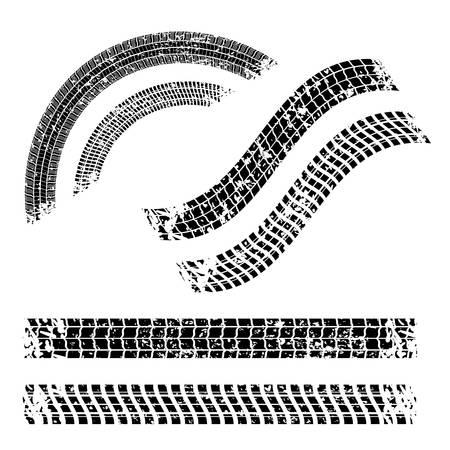 huellas de neumaticos: Ruedas de diseño sobre el fondo blanco, ilustración vectorial.