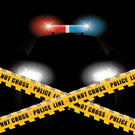 police lights: Police design over black background, vector illustration. Illustration