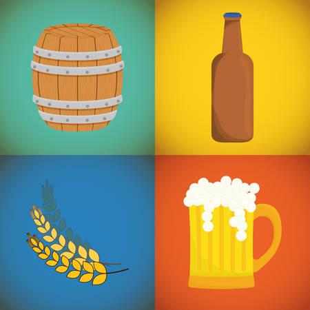 nutriments: Beer design over colorful background, vector illustration.