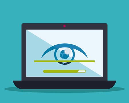 covering eyes: Security system design over blue background, vector illustration.