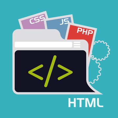 js: Web design over blue background, vector illustration. Illustration