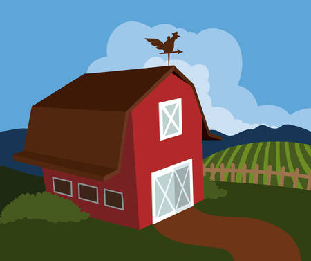 rural development: Farm design over landscape background, vector illustration.