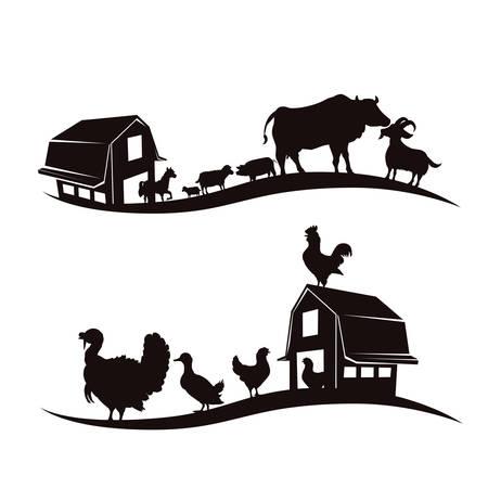 Boerderijdieren ontwerp op een witte achtergrond, vector illustratie. Stock Illustratie