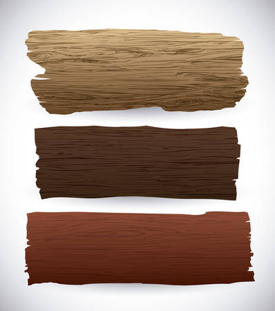 Dřevěné textury a objekty, design, vektorové ilustrace.