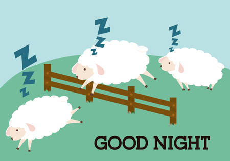 buonanotte: Disegno di sonno su sfondo bianco, illustrazione vettoriale.