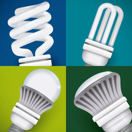 incandescent: Bulb design over colorful background, vector illustration.