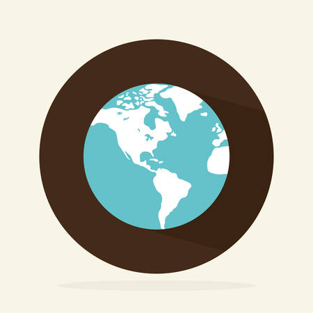 continente americano: Diseño de mundo sobre fondo blanco, ilustración vectorial.