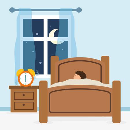 enfant qui dort: conception de sommeil sur fond bleu, illustration vectorielle.