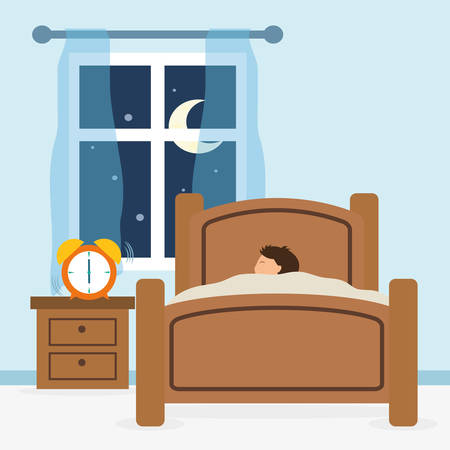 buonanotte: Disegno di sonno su sfondo blu, illustrazione vettoriale.