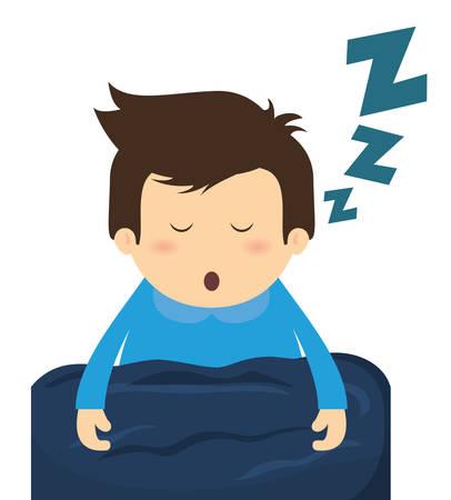 letti: Disegno di sonno su sfondo bianco, illustrazione vettoriale.