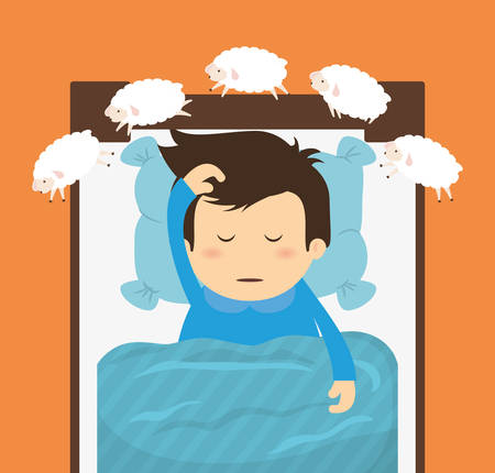 cartoon bed: Sleep design over orange background, vector illustration.