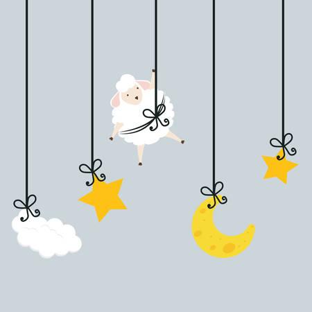 buonanotte: Disegno sonno su sfondo grigio, illustrazione vettoriale.