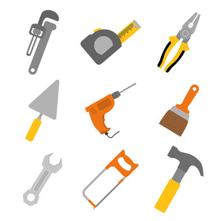 work tools: Herramientas de dise�o sobre fondo blanco, ilustraci�n vectorial.