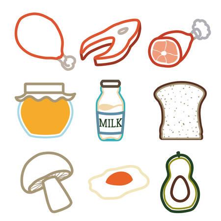 egs: Food design over white background, vector illustration. Illustration
