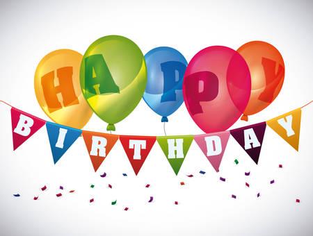Happy Birthday Design Vector ~ Happy birthday colorful card design vector illustration. royalty