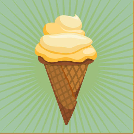 frozen treat: Ice cream design over green background