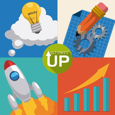 successfull: Rocket design over colorful background Illustration