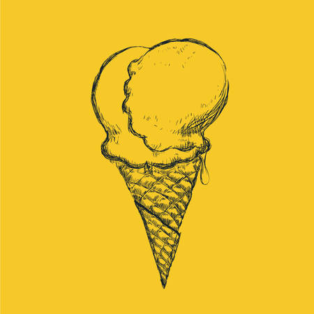 creme: Ice cream design over yellow background