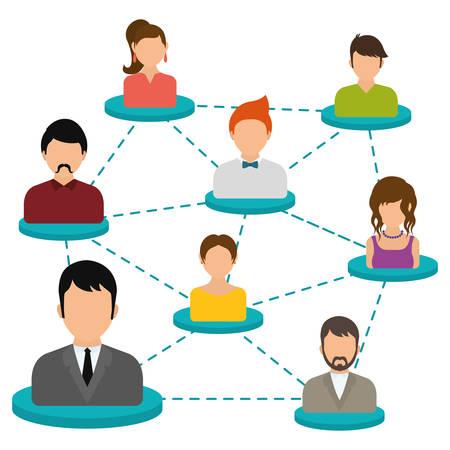 Networking-Design über weißem Hintergrund Illustration