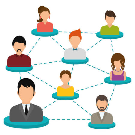Networking design over white background