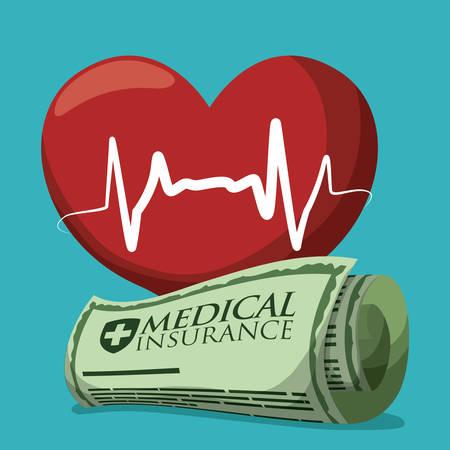 Medical insurance design over white background, vector illustration. Illustration