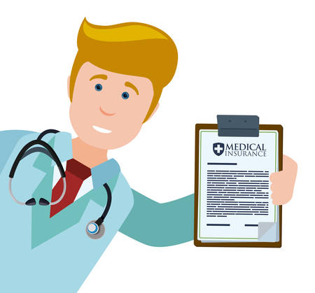 Medical insurance design over white background, vector illustration. 向量圖像