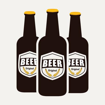 retro bottle: Beer design over white background,vector illustration.