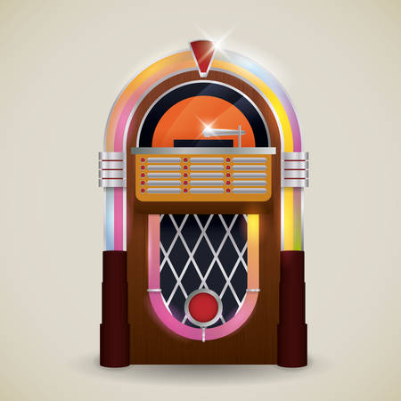 jukebox: Retro design over beige background, vector illustration.